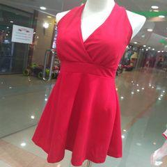 Melange Red Deep V Neck Dress For Women