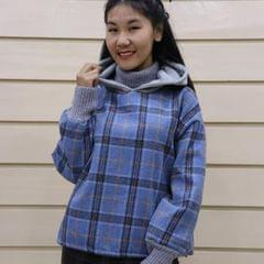 Melange Check Hoodie With Woolen Attached Neck