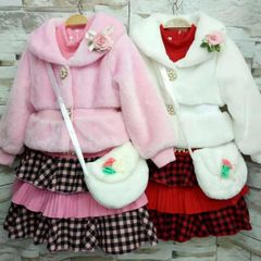 Melange Frock With Fur Outer and Mini Side Bag Set For Baby Girl