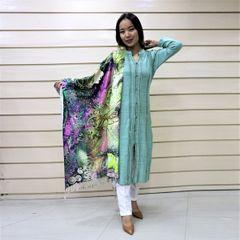 Melange Woolen Kurti Tops With Shawl For Women