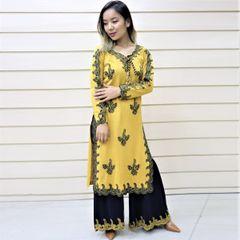 Melange Yellow Woolen Kurti Tops For Women