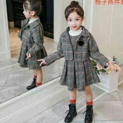 Melange Woolen Check Frock Set For Baby Girls