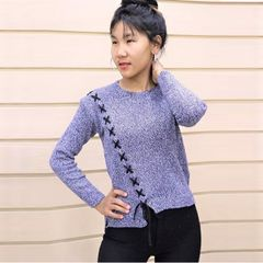 Melange Cross Lace Up Crop Woolen Tshirt