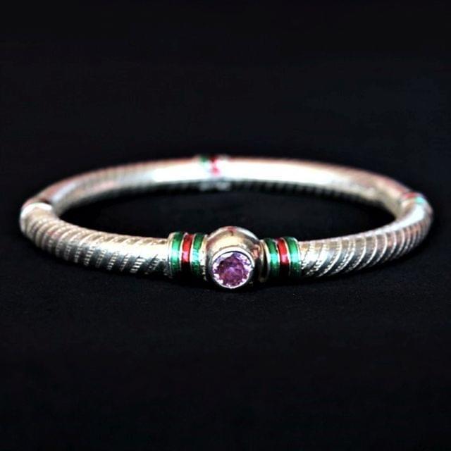 Silver Meena Bangle Purple Stone