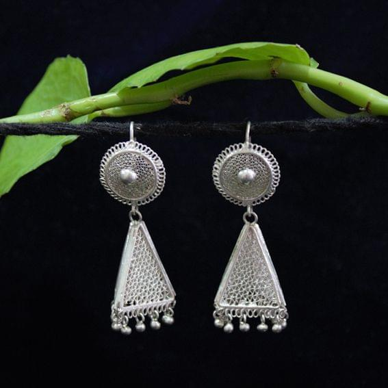 Silver Filigree Triangle Tops Jhumki