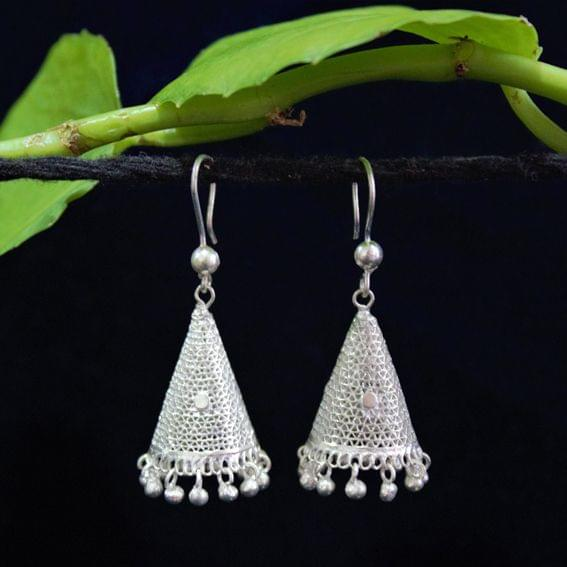 Silver Filigree Cone Jhumki
