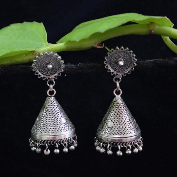 Oxidised Silver Filigree Tops Cone Jhumki Medium