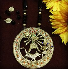 Maa Durga Round Dhokra Brass Necklace
