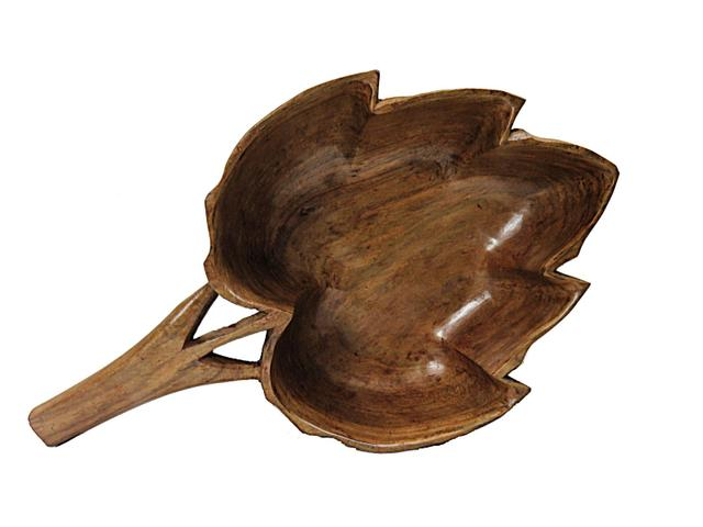 IndicHues Wooden handcrafted dry fruit bowl with handle from Kashmir