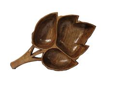 IndicHues Wooden handcrafted dry fruit bowl- three compartments with handle from Kashmir