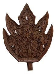 IndicHues Wooden Handcrafted Carved Chinar Design Key Ring Holder from Kashmir