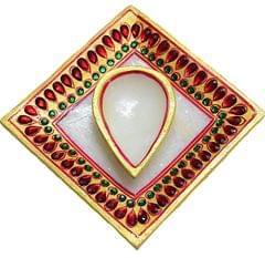 IndicHues Handmade Marble Diya with Tray