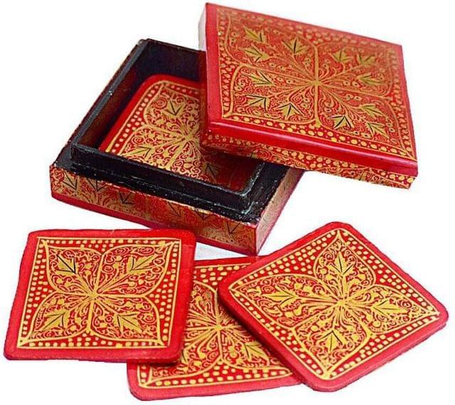 IndicHues Floral Handpainted  Square shape Paper Mache Coaster set