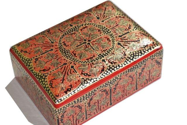 IndicHues Handpainted Rectangular Red Two Compartment Paper Mache Jewelry Box with Velvet lining  from Kashmir