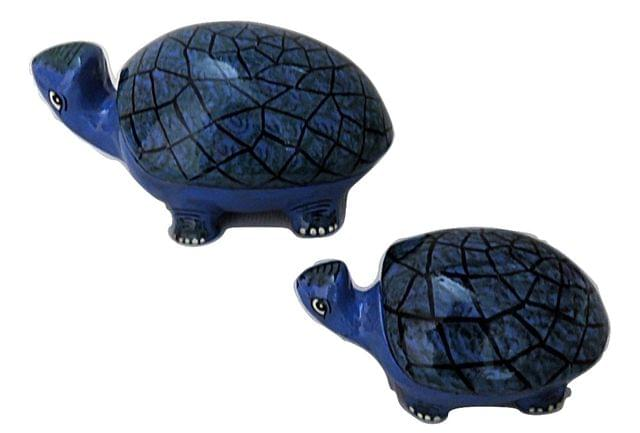 IndicHues Handmade Paper Mache Tortoise set in Blue color from Kashmir