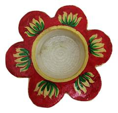 IndicHues Set of Three Floral Handmade Marble Tea Light Candle Holder