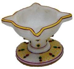 IndicHues Hamdmade Marble Chaumukha Diya, small