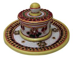 IndicHues Marble Handicraft Hand Painted Round Tray with one Dry Fruit Box / Mouth Freshner Box