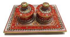 Handmade Marble Small Dry Fruit Box with Tray