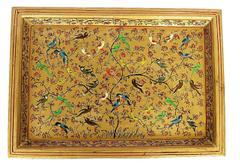 IndicHues handmade Paper Mache Rectangular Tray in golden colour with birds