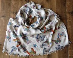 IndicHues soft, lightweight, breathable Rayon Stole with Butterflies on White Base