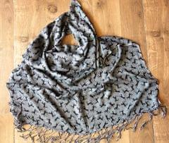IndicHues soft, lightweight ,breathable Rayon Stole with Black Horse Design on Gray Base