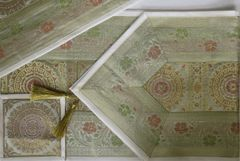 IndicHues Silk Table Runner with 6 Place Mats & 6 Coaster