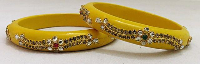 IndicHues Handmade Yellow Lac Bangles with stone work in set of 2 from Rajasthan