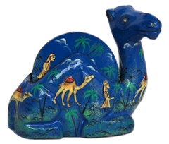 IndicHues Floral Handmade Paper Mache Coaster set in Camel shape