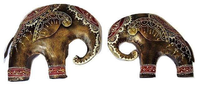 IndicHues Wrought Iron Elephant Pair