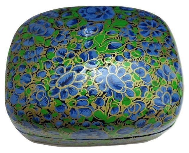 IndicHues Handmade Rectangular Blue Green Floral Motif Paper Mache Jewelry Box from Kashmir