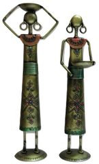 IndicHues Handmade Wrought Iron Farmer Ladies, Set of 2