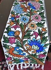 IndicHues Hand Embroidered Crewel Table Runner from Kashmir