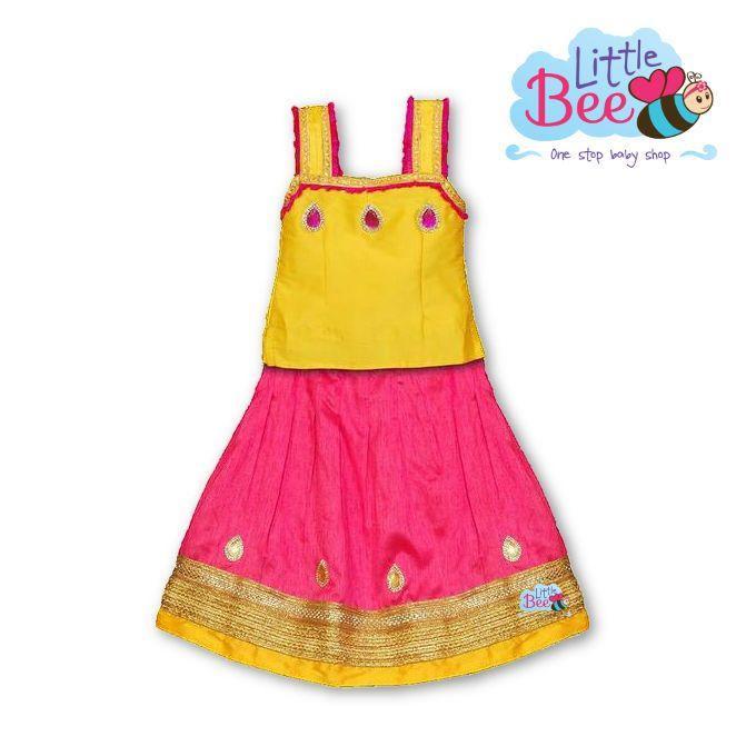 Little Bee Pink Yellow Sleeveless Lehanga