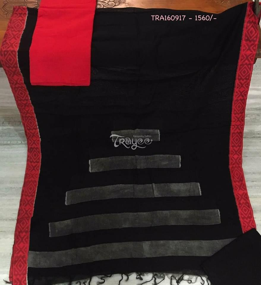 Trayee Red and Black Set with Chanderi Dupatta