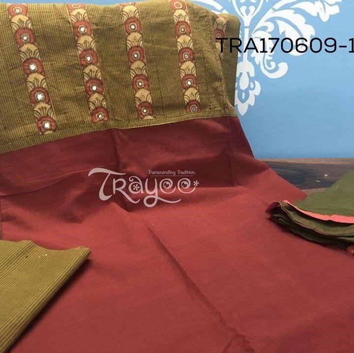 Trayee Maroon Cotton Set