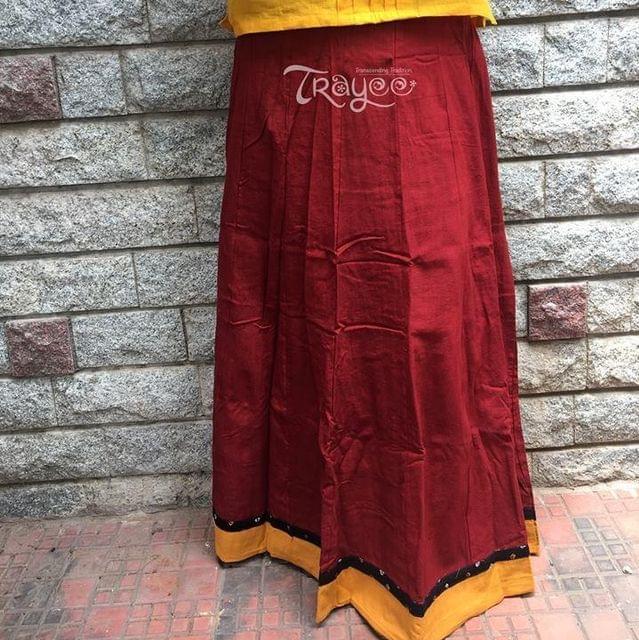 Trayee Maroon Cotton Full Length Skirt