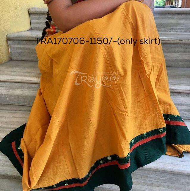 Trayee Mustard Cotton Full Length Skirt