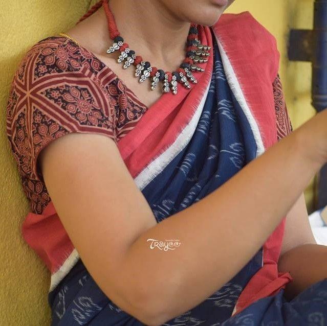 Trayee Deep Blue Handloom Ikkat Cotton Saree