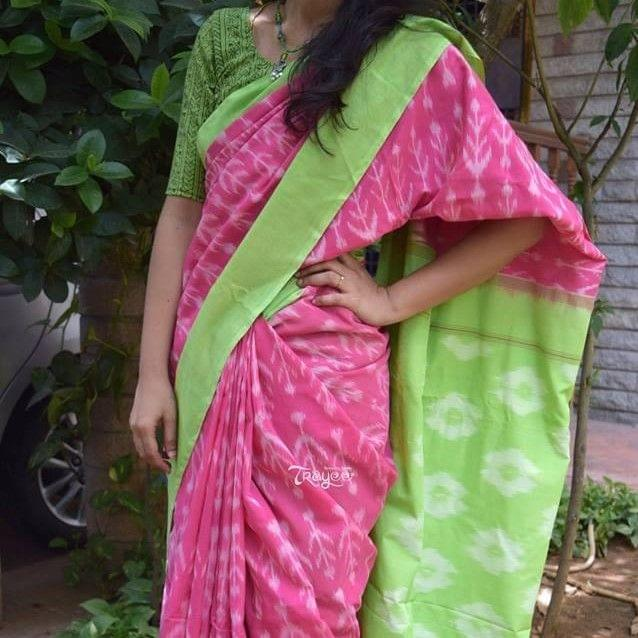 Trayee Pink Handloom Ikkat Cotton Saree