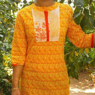 Trayee Yellow Printed Kurta Size M