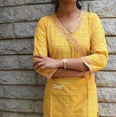Trayee Yellow Printed Kurta Size