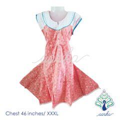 Aarika Printed Cotton Anarkali Kurtha with Detached Sleeves Size XXXL