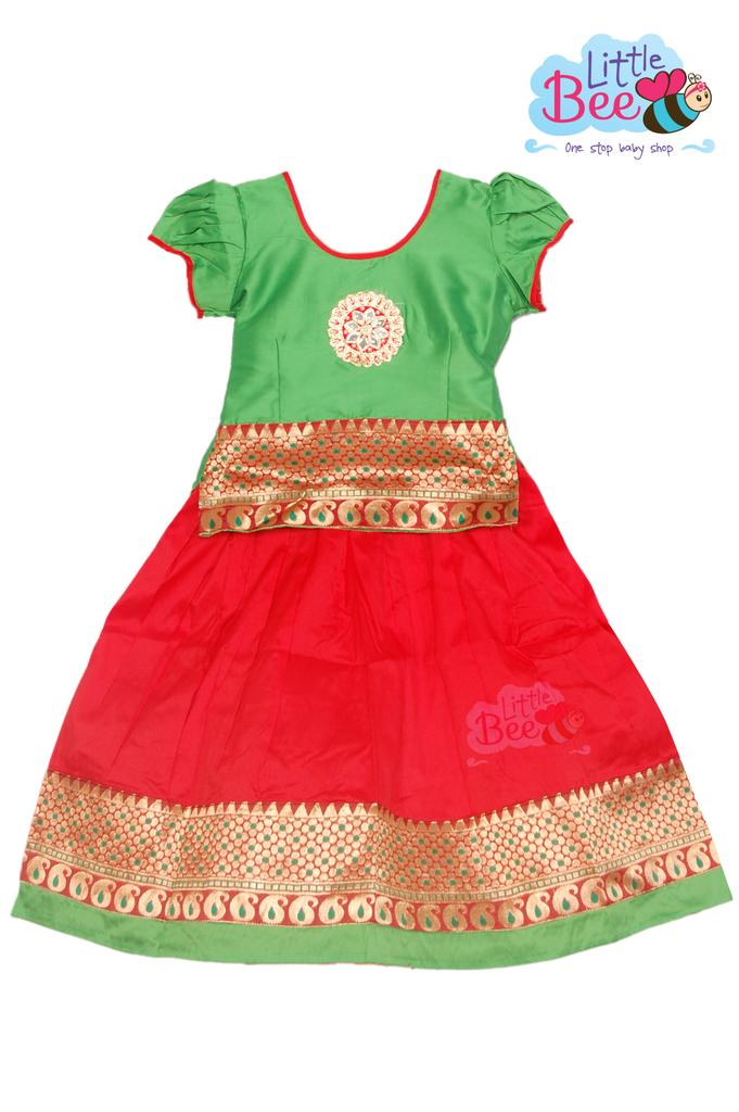 Little Bee Red and Green Pattu Pavadai