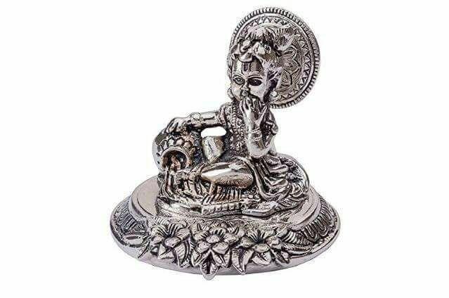 Smile Decors White Metal Krishna Idol