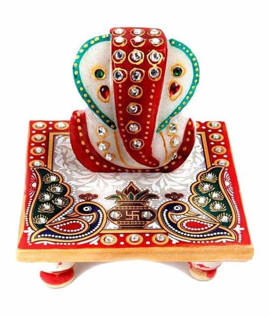 Smile Decors Marble Chowki Ganesha