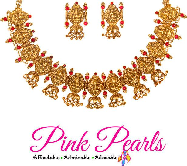 Pink Pearls Exquisite Antique Necklace with Red Kemp Stones and Matching Earrings