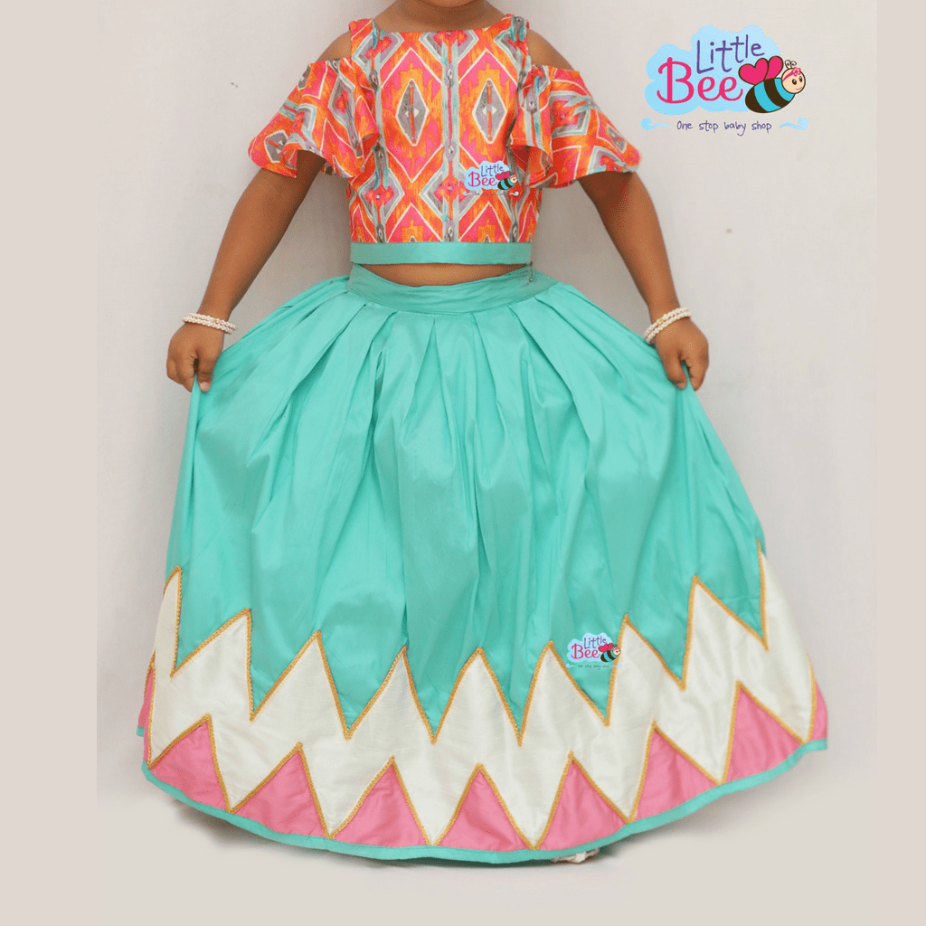 Little Bee Pink and Aqua Blue Zig Zag Printed Skirt and Cold-Shoulder Top