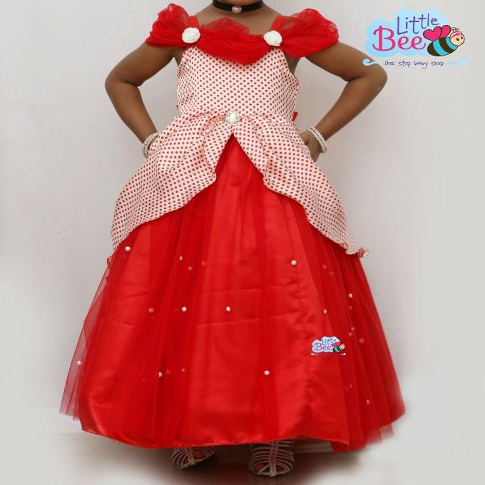 Little Bee Red Dot Full Length Dress