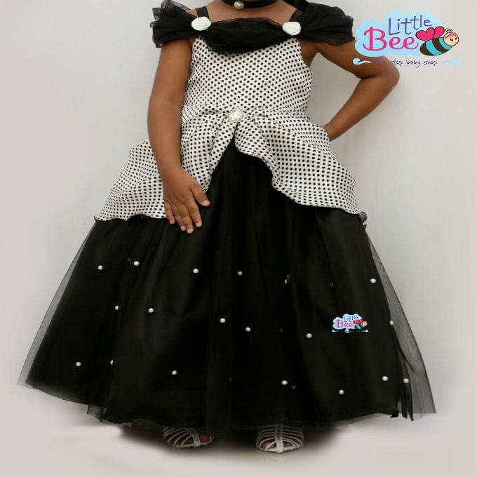 Little Bee Black Dot Full Length Dress